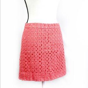 J. CREW Crochet Eyelet Mini Skirt in Pink Size 2